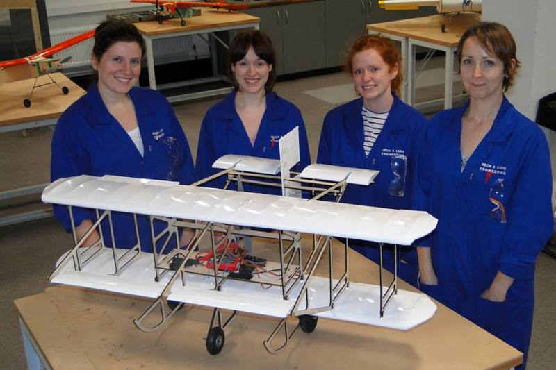 Students with replica Mayfly aircraft