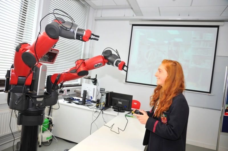 School pupil with Baxter robot