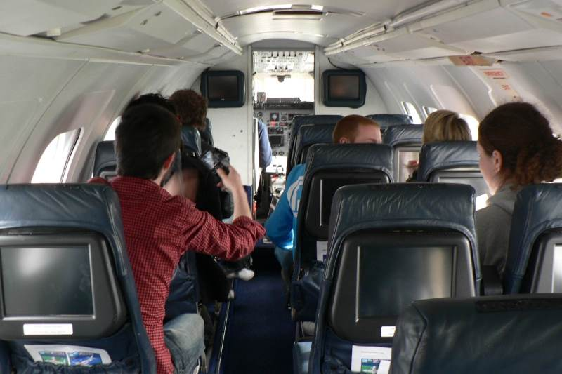 Students in aircraft during flight laboratory