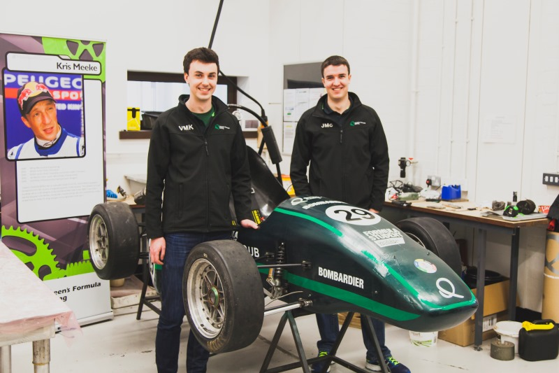Students with formula racing car