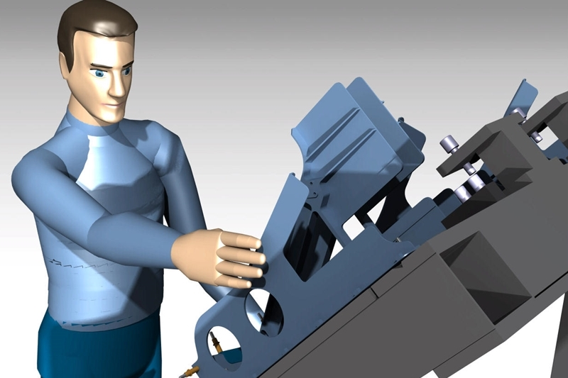 Simulation of worker assembling a part