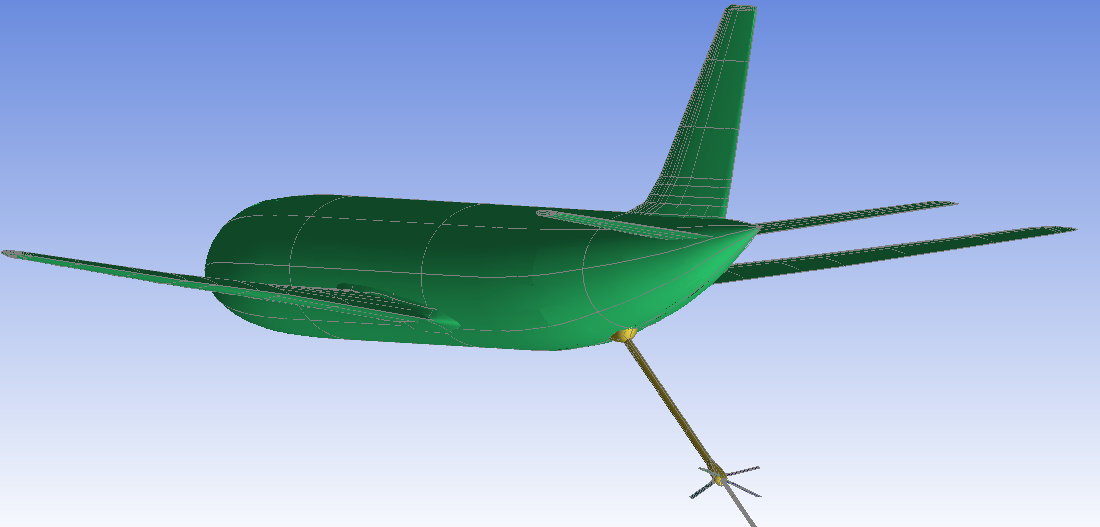 Simulation model of aircraft and in-flight refuel pipe