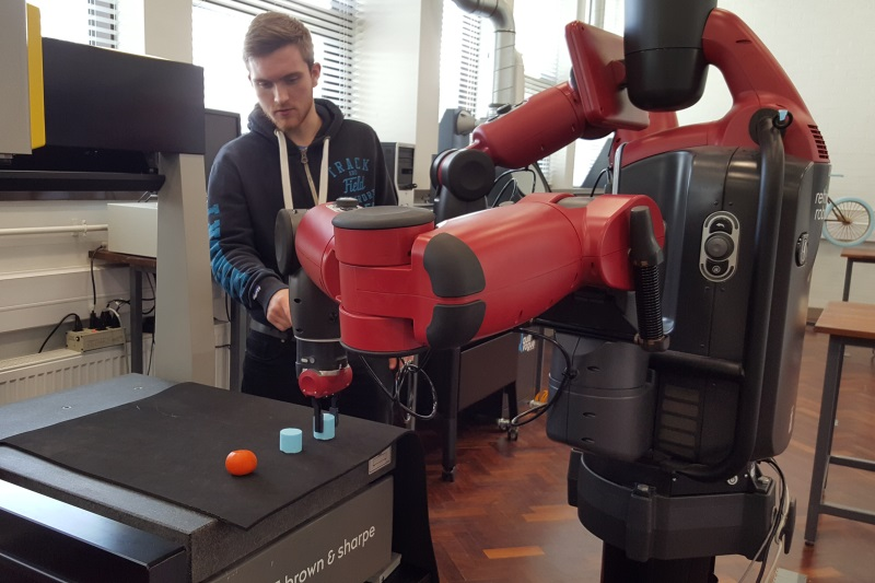 Student with Baxter robot