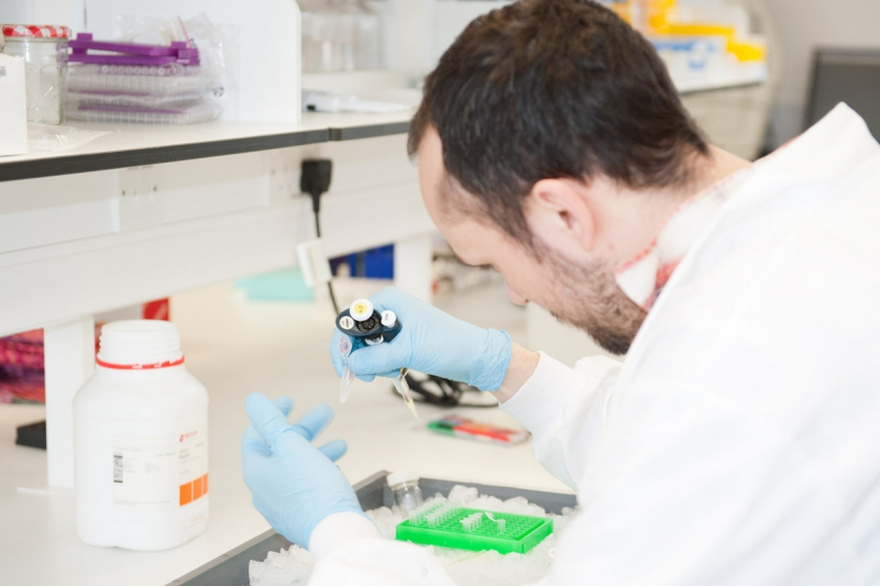 male researcher working in a lab