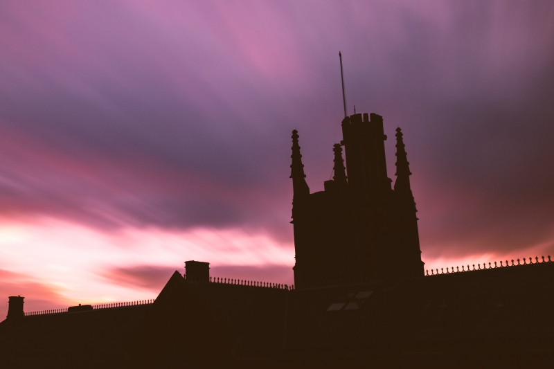 Silhouette of the lanyon tower with dark sky