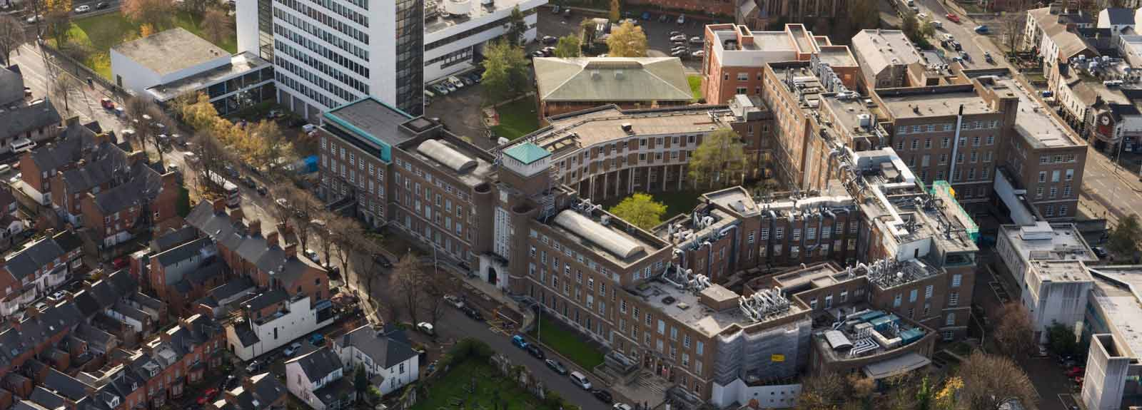 Arial photograph of the David Keir Building