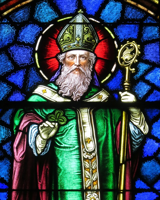 St Patrick stained glass window from St Patrick Catholic Church, Ohio, photo by Nheyob, via Wikimedia Commons