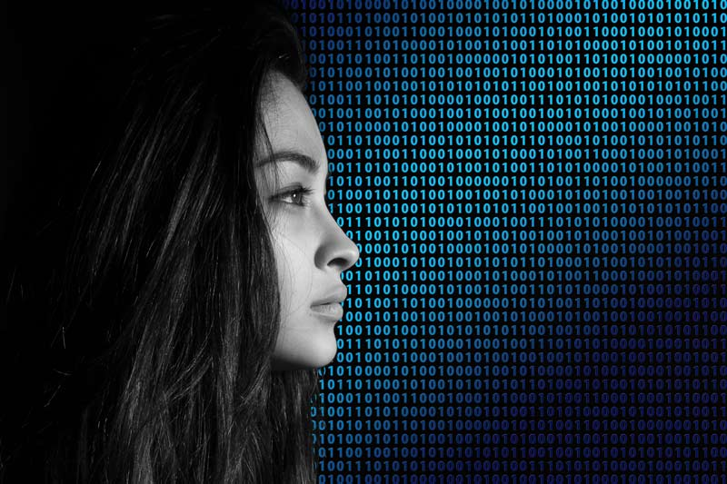 Girls Face Superimposed Over Binary Data Visualisation