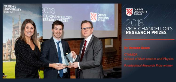 Dermot Green being awarded the 2018 Queen's University Belfast Vice-Chancellor's Research Prize
