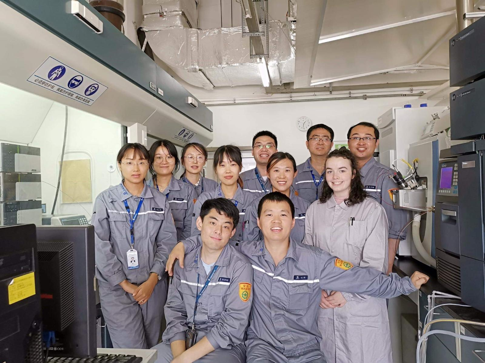 Image of Finnóla Mallon, a Chemistry student at Queen's University Belfast, with colleagues at Wanhua Chemicals Group in Yantai, Shandong Province, China