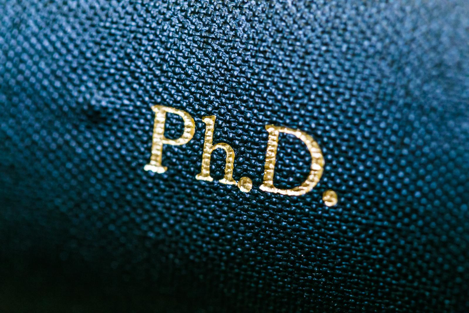 An image of the spine of a PhD thesis