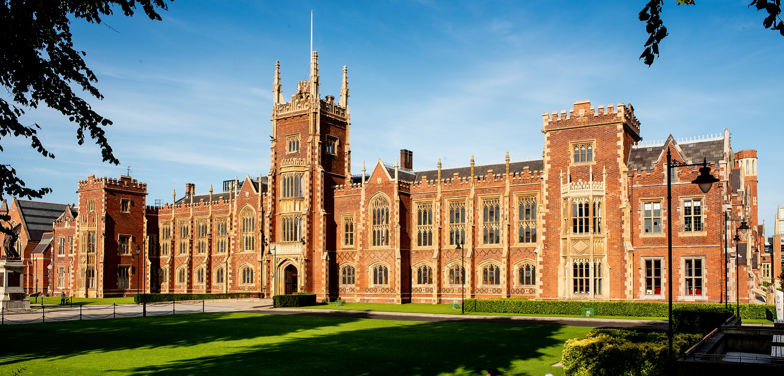 Queen's University Belfast Lanyon Building façade in bright sunshine