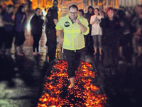 Guide Dogs NI Fire Walk at Queen's