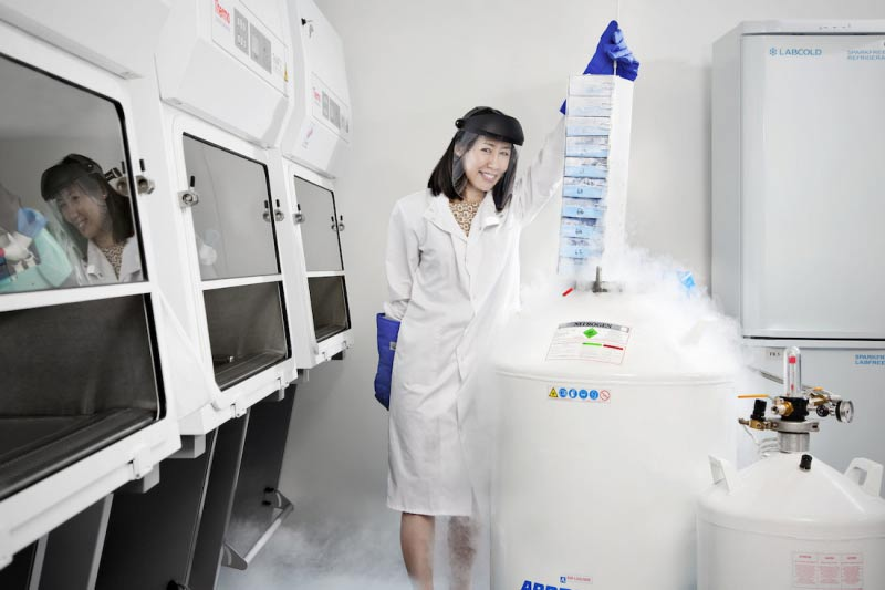 female researcher carrying out research in laboratory