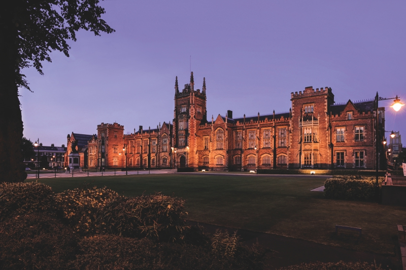 Lanyon building and front lawns at night time