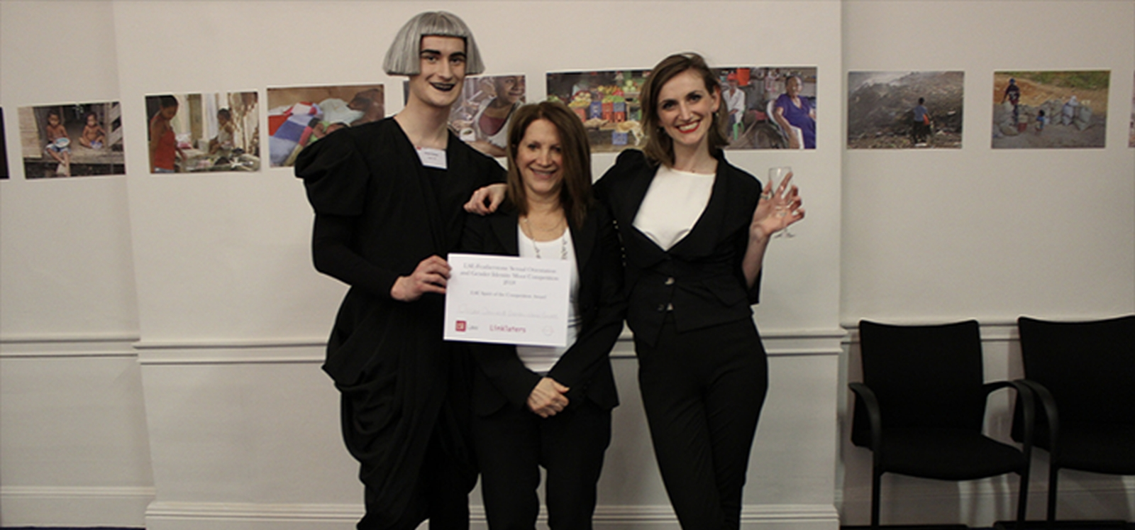 Law students Oscar Davies and Sarah Jane-Ewart pictured with Baroness Featherstone. Image credit: Selina Swift