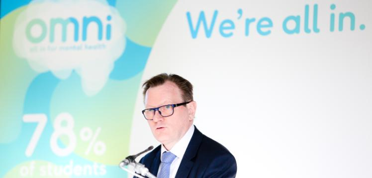 Vice-Chancellor Professor Ian Greer speaking at the launch of OMNI – All in for mental health campaign – February 2019