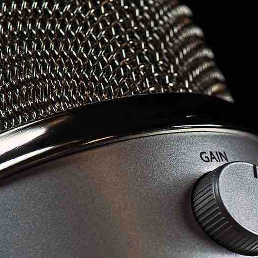 A close-up image of a microphone