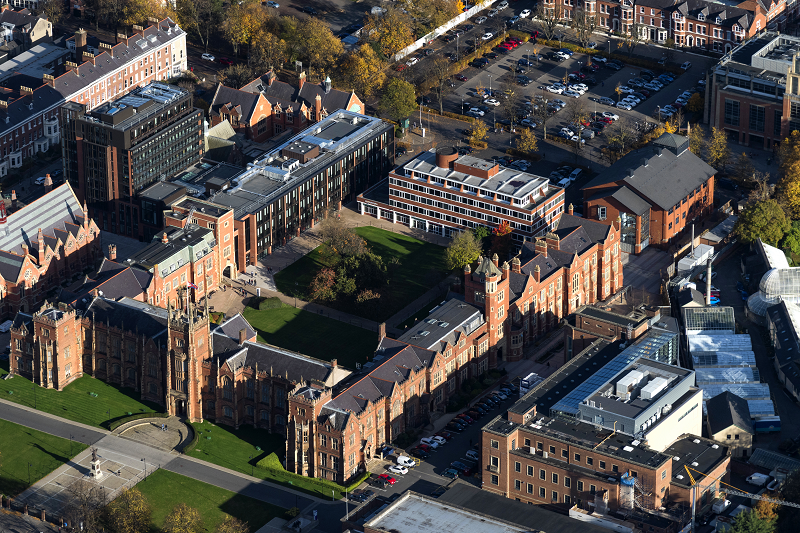 Aerial shot of Queen's University Lanyon Building campus, showing car parking
